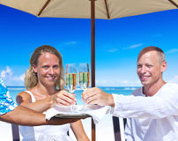 Woman and Man Having Champagne by the Beach Stock Images