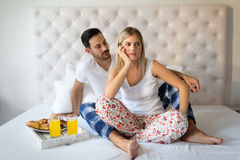 Woman and man having conflict and going through crisis. Woman and men having conflict and going through crisis in relationship Stock Photography