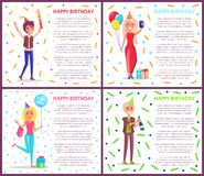Happy Birthday People with Confetti at Party Set. Woman and man having fun at party vector. Birthday celebration of people with bottles alcoholic drink, lady royalty free illustration