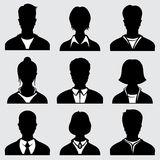 Woman and man head silhouettes, anonymous person vector icons Stock Photos