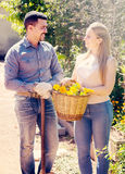 Woman and man holding basket with flowers Royalty Free Stock Images