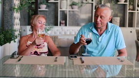 A woman with a man are holding glasses of wine. stock footage