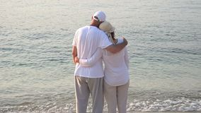 Woman and man hugging on the sandy beach stock video