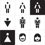 Woman and man icon. Man & Woman restroom sign. WC sign. Stock Images