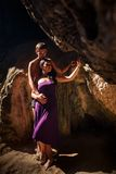 woman and man kiss in cave Royalty Free Stock Photography