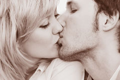 Woman and man kiss close-up Royalty Free Stock Image