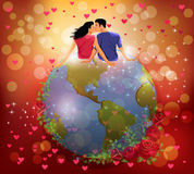 Woman and man kissing on the globe. Vector illustration of a woman and a man kissing on the globe in a romantic background Royalty Free Stock Photography
