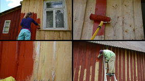 Woman and man on ladder paint wooden house. Video clips collage stock video footage