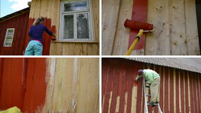 Woman and man on ladder paint wooden house. Video collage stock video