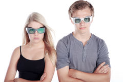 Woman and man with laser safety goggles Royalty Free Stock Images