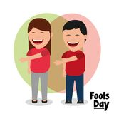 Woman and man laughing gesture pointing fools day. Vector illustration Royalty Free Stock Photos