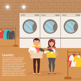 Woman and man in the Laundry room. Washing clothes. Vector illustration. Cartoon character. Isolated. Flat Stock Photography