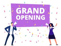 Woman and man with loudspeaker at grand opening banner and conffetti. Vector illustration vector illustration