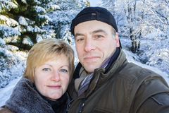 A woman and man make a Selphy Royalty Free Stock Photo