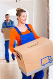Woman and man moving in new home Royalty Free Stock Photography