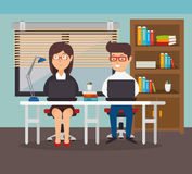 Woman and man office teamwork workplace Royalty Free Stock Photo