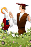 Woman man pair flowers character cartoon style  illustration Stock Photography