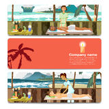 Woman and man pampering herself by enjoying day spa massage. On the beach. Sale discount gift card. Branding design for massage salon Royalty Free Stock Images