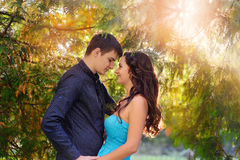 Woman and man in the park, backlit sun Royalty Free Stock Photography
