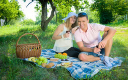 The woman and the man on picnic in park. Royalty Free Stock Images