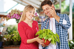 Woman and man with plant in nursery shop. Woman and men standing with a green plant (philodendron cordatum) in a nursery shop royalty free stock images