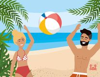 Woman and man playing with beach ball and leaves plants. Vector illustration vector illustration
