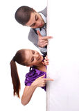 Woman and man with poster. Ywo young people with white empty placard Royalty Free Stock Image