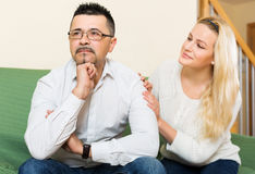 Woman with man after quarrel Royalty Free Stock Photos