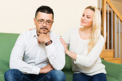 Woman with man after quarrel Royalty Free Stock Images