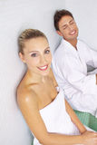 Woman and man relaxing in spa resort. Smiling women and men relaxing in spa resort in a relaxation room stock photos