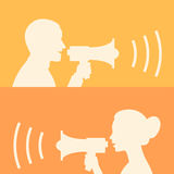 Woman and man says in loudspeaker Royalty Free Stock Image