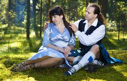 Woman and man in scottish costume Royalty Free Stock Image