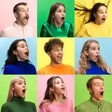 The woman and man screaming with open mouth isolated on yellow background, concept face emotion royalty free stock photography