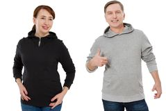 Woman and man set in sweatshirt front view. Guy and female in template clothes for print and copy space isolated on white. Woman and men set in sweatshirt front royalty free stock photography