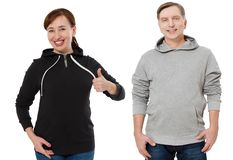 Woman and man set in sweatshirt front view. Guy and female in template clothes for print and copy space isolated on white. Woman and men set in sweatshirt front stock images