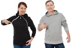 Woman and man set in sweatshirt front view. Guy and female in template clothes for print and copy space isolated on white. Woman and men set in sweatshirt front stock photos