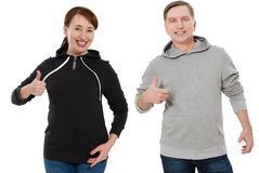 Woman and man set in sweatshirt front view. Guy and female in template clothes for print and copy space isolated on white. Woman and men set in sweatshirt front royalty free stock images