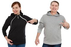 Woman and man set in sweatshirt front view. Guy and female in template clothes for print and copy space isolated on white. Woman and men set in sweatshirt front stock photo