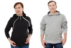 Woman and man set in sweatshirt front view. Guy and female in template hoody clothes for print and copy space isolated on white. Woman and men set in sweatshirt royalty free stock photos
