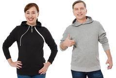 Woman and man set in sweatshirt front view. Guy and female in template hoody clothes for print and copy space isolated on white. Woman and men set in sweatshirt stock images