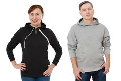Woman and man set in sweatshirt front view. Guy and female in template hoody clothes for print and copy space isolated on white. Woman and men set in sweatshirt royalty free stock photography