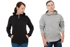 Woman and man set in sweatshirt front view. Guy and female in template hoody clothes for print and copy space isolated on white. Woman and men set in sweatshirt royalty free stock images
