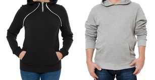 Woman and man set in sweatshirt front view. Guy and female in template hoody clothes for print and copy space isolated on white. Woman and men set in sweatshirt royalty free stock image