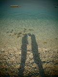 Woman and man shadow. In this foto is shadow of me and my boyfriend in Gradac destination (Croatia Stock Image