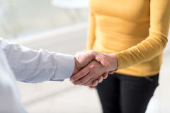 Woman and man shaking hands in office Royalty Free Stock Image