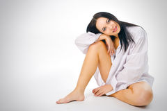 Woman in man shirt Royalty Free Stock Images