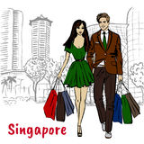 Woman and man with shopping bags on Orchard Road. Hand-drawn sketch of woman and man with shopping bags on Orchard Road in Singapore Royalty Free Stock Image