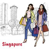 Woman and man with shopping bags on Orchard Road. Hand-drawn sketch of woman and man with shopping bags on Orchard Road in Singapore Royalty Free Stock Photos