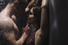 Woman and man in the shower Royalty Free Stock Photo