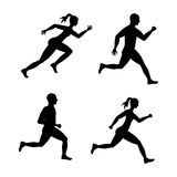 Woman and man of side running. sport concept, vector graphic Stock Images